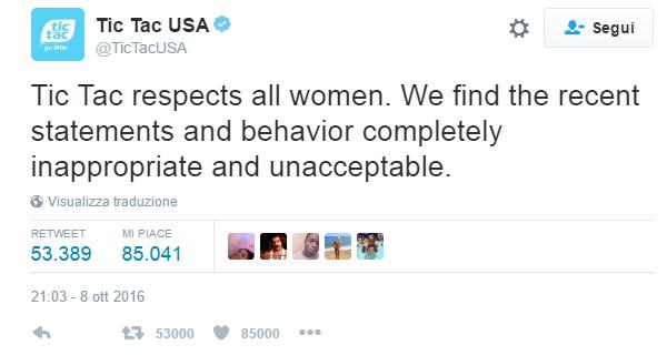 """Tic Tac si dissocia da Trump: """"Rispettiamo le donne"""""""