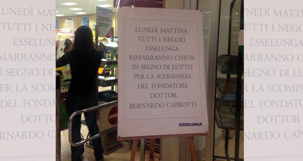 Esselunga, lunedì 3 ottobre negozi chiusi per lutto