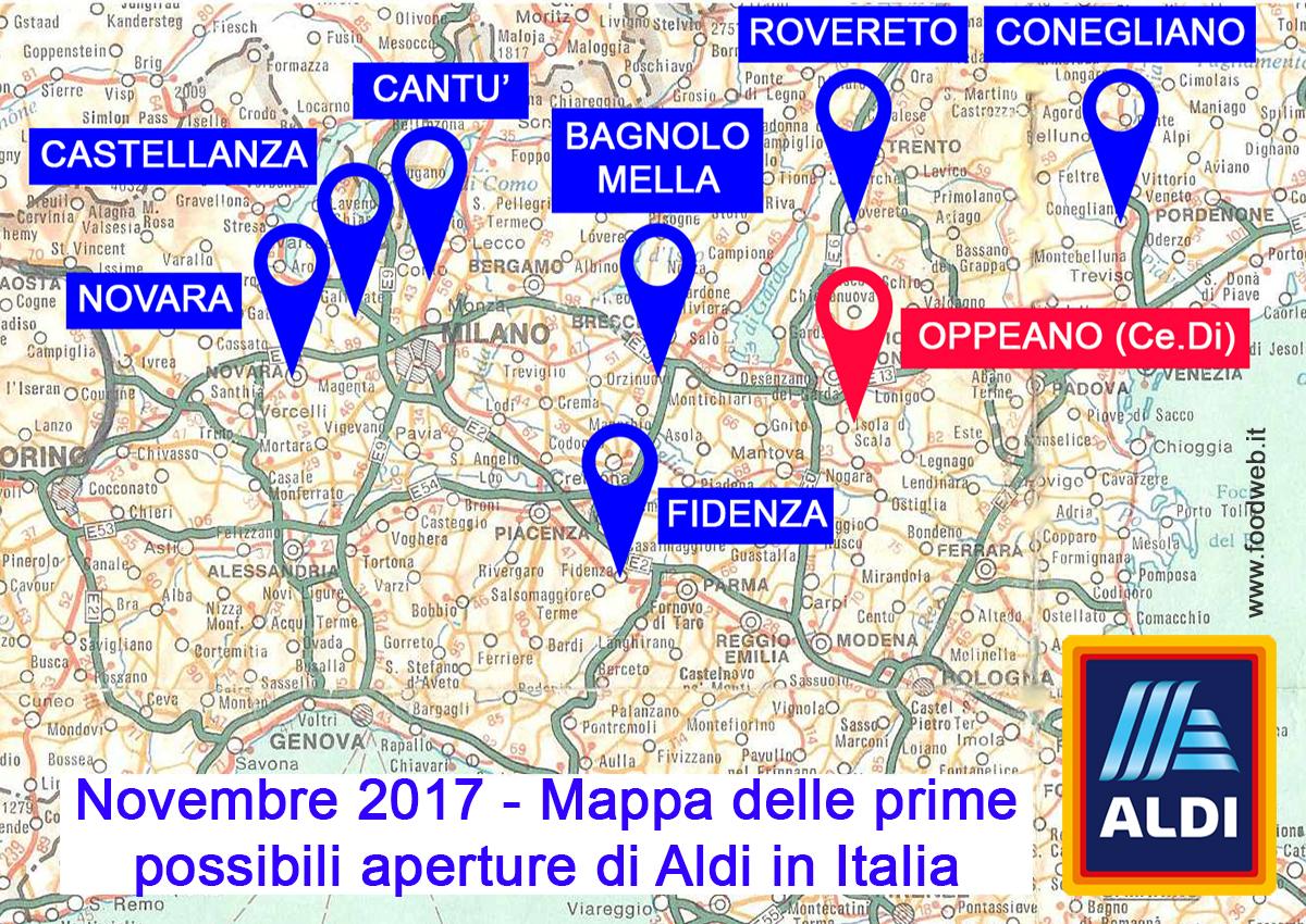 Aldi in Italia, la mappa dei cantieri